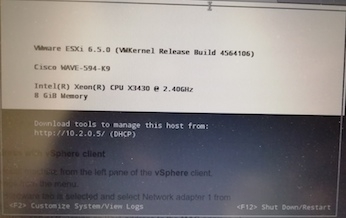 ESXi on Cisco WAVE594 Boot Screen