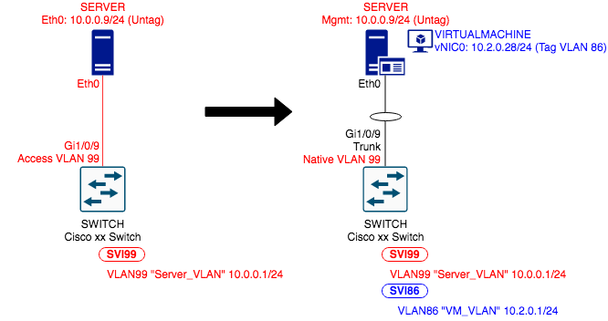 Topology showing Cisco Switches and Access-connected Hosts